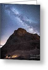 Catinaccio And The Milky Way, Italy Greeting Card