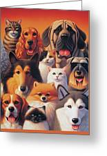 Cats And Dogs  Greeting Card