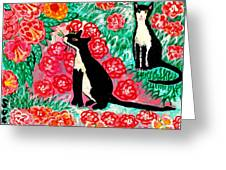 Cats And Roses Greeting Card