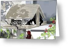 Cats In A Bird Feeder Greeting Card