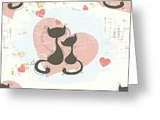 Cats In Love, Romantic Decorative Seamless Pattern Greeting Card