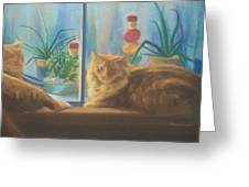 Cats In The Window Greeting Card