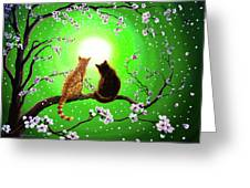 Cats On A Spring Night Greeting Card