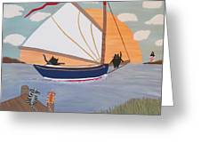 Cats On Cat Boat Greeting Card