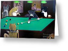 Cats Playing Pool Greeting Card