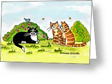 Cats Talking In A Sunny Garden Greeting Card