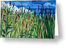 Cattails Greeting Card by Helen Klebesadel