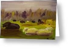 Cattle In Field  Greeting Card