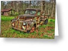 Caught Behind 1947 Ford Stakebed Pickup Truck Art Greeting Card