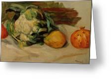 Cauliflower And Pomegranates Greeting Card