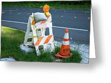 Caution, Road Work Greeting Card