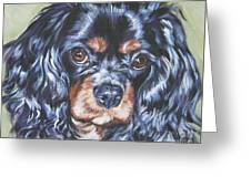 Cavalier King Charles Spaniel Black And Tan Greeting Card by Lee Ann Shepard