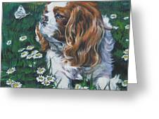 Cavalier King Charles Spaniel With Butterfly Greeting Card by Lee Ann Shepard