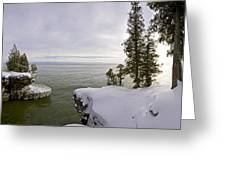 Cave Point Panorama Greeting Card