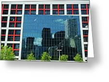 Cbc Building Tv Screen Of Downtown Highrises Greeting Card