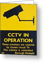 Cctv Warning Sign Greeting Card