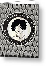 Cecely Bloom Deco Portrait Greeting Card