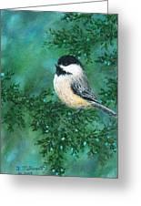Cedar Chickadees - Bird 2 Greeting Card