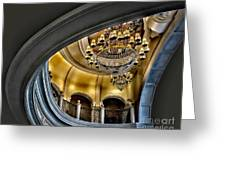 Ceiling And Chandelier In Bellagio Greeting Card