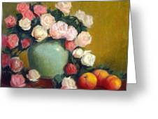 Celadon Vase With Roses And Nectarines Greeting Card