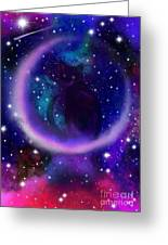 Celestial Crescent Moon Cat  Greeting Card