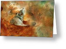 Celestial Wolves 2 Greeting Card