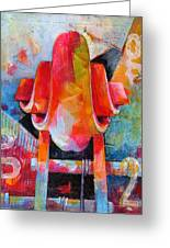 Cello Head In Blue And Red Greeting Card
