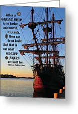 Celtic Tall Ship - El Galeon In Halifax Harbour At Sunrise Greeting Card