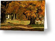Cemetary Road In Autumn Greeting Card