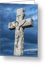 Cemetery Statue Of Jesus Greeting Card
