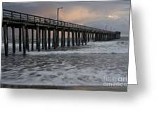 Central Coast Pier Greeting Card by Ron Hoggard