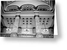 Central Library Milwaukee Interior Bw Greeting Card