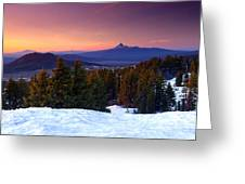 Central Oregon Cascades From Crater Lake Greeting Card