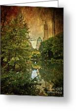 Central Park In Autumn Texture 4 Greeting Card