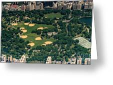 Central Park North Meadow In New York City Aerial View Greeting Card