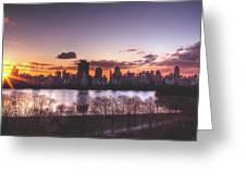 Central Park Rises Greeting Card by Ariane Moshayedi