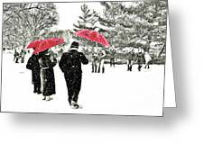 Central Park Snow And Red Umbrellas Greeting Card