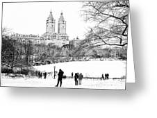 Central Park Snow Lakeside Greeting Card