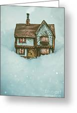 Ceramic Cottage In Snow Greeting Card