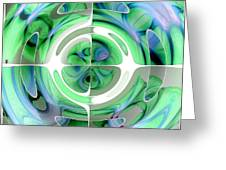 Cerulean Blue And Jade Abstract Collage Greeting Card