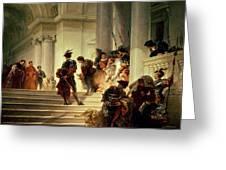 Cesare Borgia Leaving The Vatican Greeting Card by Giuseppe Lorenzo Gatteri