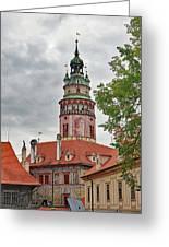 Cesky Krumlov Castle Tower In Cesky Krumlov Of The Czech Republic Greeting Card
