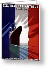 C.g. Transatlantique Vintage Travel Poster Greeting Card