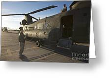 Ch-47 Chinook Crew Preparing To Load Greeting Card