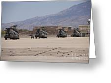 Ch-47 Chinook Helicopters On The Flight Greeting Card