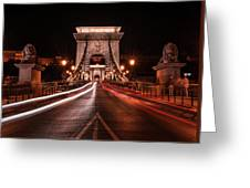 Chain Bridge At Midnight Greeting Card