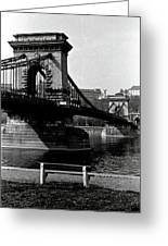 Chain Bridge Of Budapest In 1990 Greeting Card