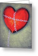 Chained Heart Greeting Card by Jeff Kolker