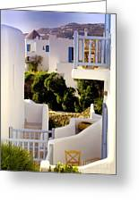 Chair On Balcony In Mykonos Greeting Card
