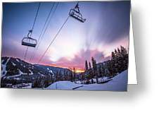 Chairlift Sunset Greeting Card